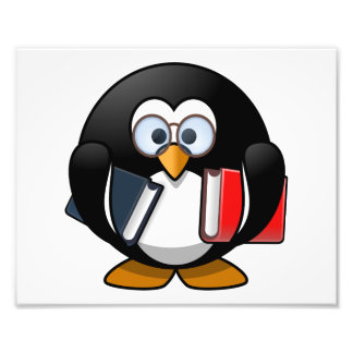 Bookworm Penguin Cute Cartoon Photo Print