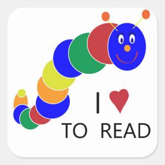 Bookworm Square Sticker