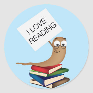 bookworm  with sign classic round sticker