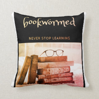 """Bookwormed - """"Never Stop Learning"""" Pillow"""