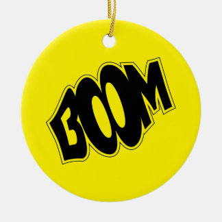 boom-147866 BOOM EXPLOSIONS COMIC FONT SHOUT EXPRE Round Ceramic Ornament