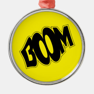 boom-147866 BOOM EXPLOSIONS COMIC FONT SHOUT EXPRE Silver-Colored Round Ornament