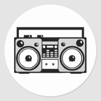 Boom Box Classic Round Sticker