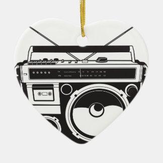 ☞ boom box Oldschool/cartridge player Ceramic Heart Ornament