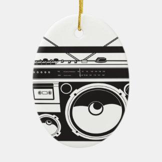 ☞ boom box Oldschool/cartridge player Ceramic Oval Ornament