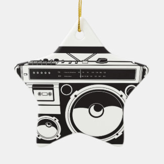 ☞ boom box Oldschool/cartridge player Ceramic Star Ornament