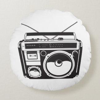 ☞ boom box Oldschool/cartridge player Round Pillow