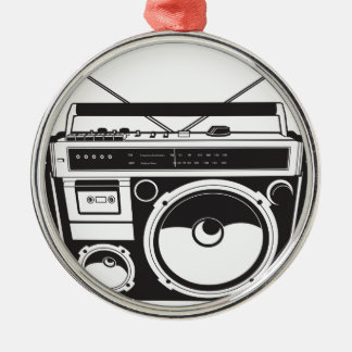 ☞ boom box Oldschool/cartridge player Silver-Colored Round Ornament