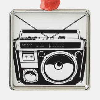 ☞ boom box Oldschool/cartridge player Silver-Colored Square Ornament