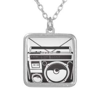 ☞ boom box Oldschool/cartridge player Silver Plated Necklace