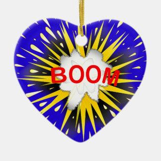 Boom Cartoon Bubble Ceramic Heart Ornament