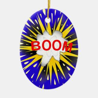 Boom Cartoon Bubble Ceramic Oval Ornament
