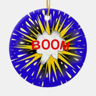 Boom Cartoon Bubble Round Ceramic Ornament