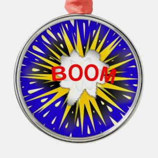 Boom Cartoon Bubble Silver-Colored Round Ornament