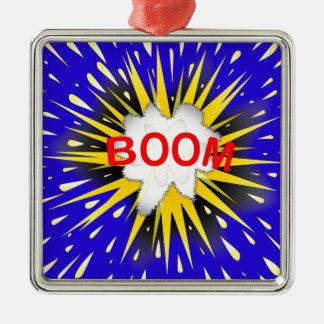 Boom Cartoon Bubble Silver-Colored Square Ornament