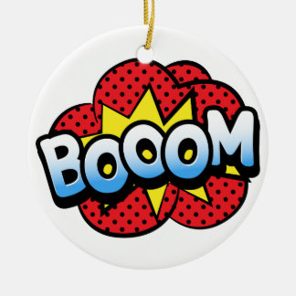 Boom dynamite round ceramic ornament