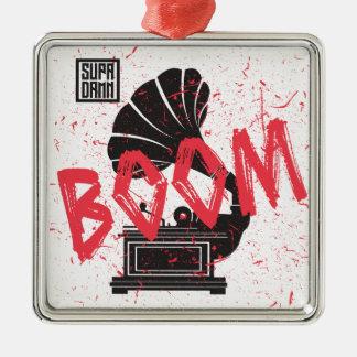 Boom Gramophone White Silver-Colored Square Ornament