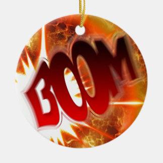 Boom! Round Ceramic Ornament