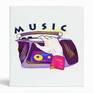 Boombox radio and hand graphic, word Music Binder