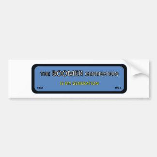 BOOMER generation bumper/window sticker Bumper Sticker
