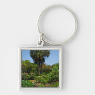 Boone Hall Garden Silver-Colored Square Keychain