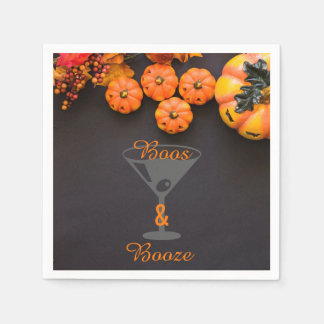 Boos and Booze Adult Halloween Party Black Orange Disposable Napkin