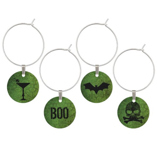 Boos and Booze Halloween Green Wine Charms