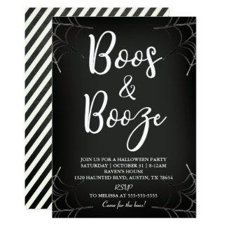 Boos & Booze Chalkboard Halloween Invitation