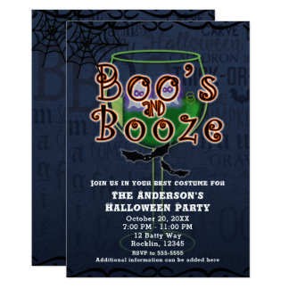 Boos & Booze Ghosts & Bats Halloween Costume Party Card