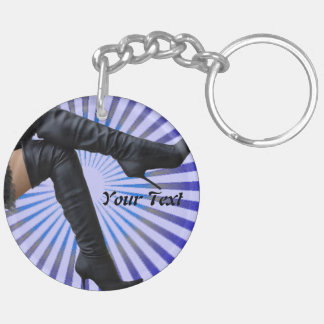 BOOT Art - (blue star burst) Double-Sided Round Acrylic Keychain