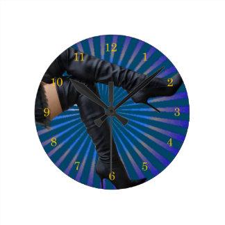 BOOT Art - Leather thigh highs (blue star burst) Round Clock