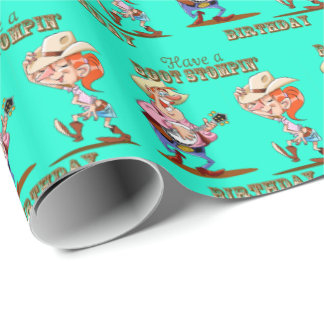 Boot Stompin' Birthday Western Cowboy Cowgirl Blue Wrapping Paper