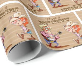 Boot Stompin' Birthday Western Cowboy Cowgirl Wrapping Paper