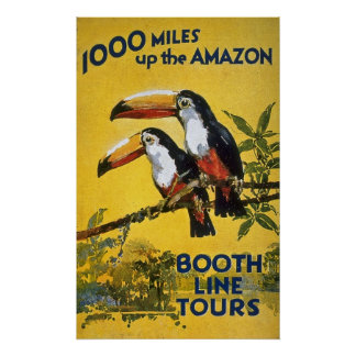 Booth Line Tours 1000 Miles Up the Amazon Vintage Poster
