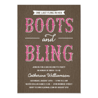 "Boots and Bling | Glitter-Look Bachelorette Party 5"" X 7"" Invitation Card"