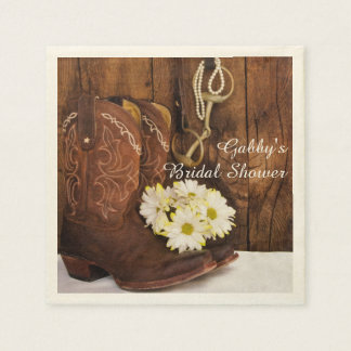 Boots, Daisies and Horse Bit Country Bridal Shower Paper Napkin