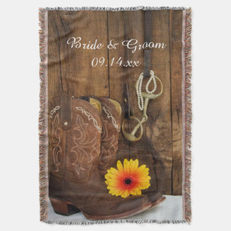 Boots Daisy and Horse Bit Country Wedding Throw