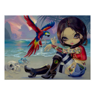 Bootstrap Betsy ART PRINT Pirate Tattoo Girl