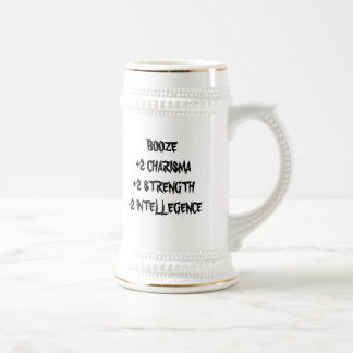 BOOZE+2 CHARISMA+2 STRENGTH-2 INTELLEGENCE BEER STEIN