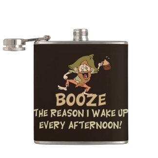 Booze The Reason I Wake Up Saying Hip Flask