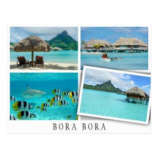 Bora Bora lagoon collage with loose image Postcard
