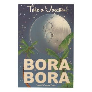 Bora Bora Moon Travel poster Wood Print