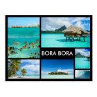 Bora Bora multiple image collage black postcard