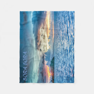 Bora Bora Sunset across the ocean Fleece Blanket