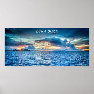 Bora Bora Sunset across the ocean Poster