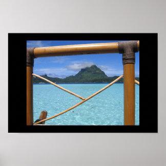 Bora Bora Tahiti Overwater Bungalow Railing View Poster