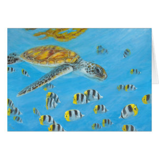 bora bora turtle with butterfly fish card