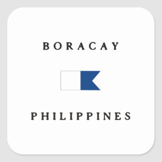 Boracay Philippines Alpha Dive Flag Square Sticker