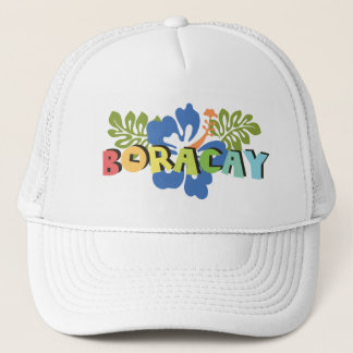 Boracay Philippines on Tropical Hibiscus Flowers Trucker Hat