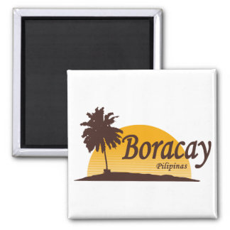Boracay white square magnet